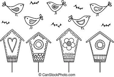 Birds and birdhouses - stylized hand drawn illustration