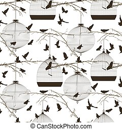 Birds and cages pattern