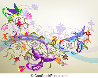 birds and flowers - Decorative colorful background with...