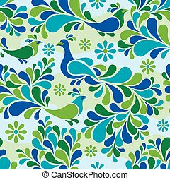 Birds and Flowers Pattern Cool Colors