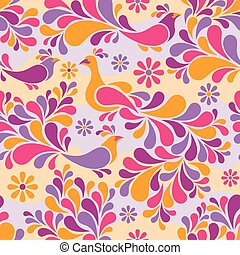 Birds and Flowers Pattern Warm Colors