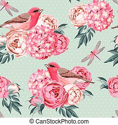 Birds and flowers seamless - Vintage birds and flowers...