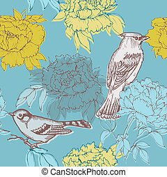 Birds and Flowers - seamless pattern in vector