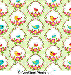 Seamless vector pattern with flowers and birds