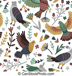 Birds and forest seamless pattern