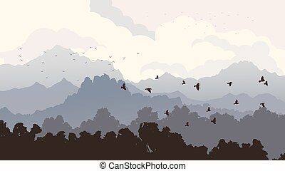 Birds and forest with mountains.