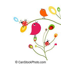 birds and ladybugs