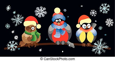 Birds and owls in winter forest .