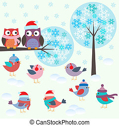 Birds and owls in winter forest
