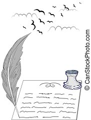 Birds and pen and inkwell