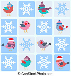 Birds and snowflakes