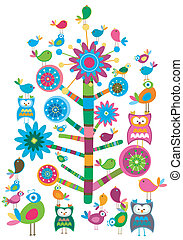 birds and tree - whimsy birds and tree colorful design