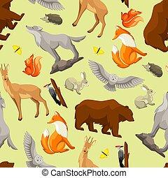 birds., animais, padrão, bosque, seamless, ilustração, stylized, floresta