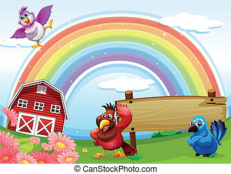 Birds at the farm with a rainbow and an empty signboard