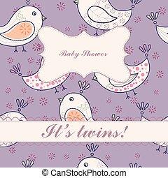 Birds baby shower twins vintage