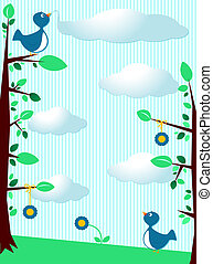 Birds background - Cute background customizable with birds,...