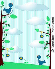 Birds background - Cute background customizable with birds,...