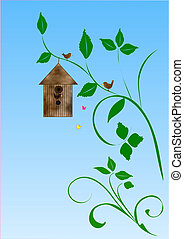 Bird in tree with birdhouse
