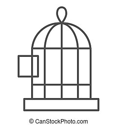 Birds cage thin line icon. Cell vector illustration isolated on white. Birdcage outline style design, designed for web and app. Eps 10.