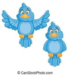 birds., carino, cartone animato, illustrazione