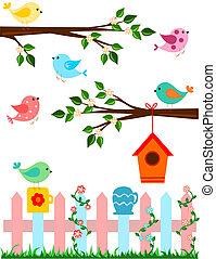 Birds - Cartoon illustration of birds with bird house