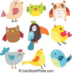 birds character vector design
