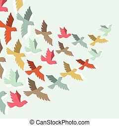 birds., color, vuelo, cielo, estilizado, plano de fondo