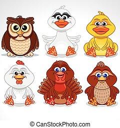 birds., conjunto, vario, caricatura, vector