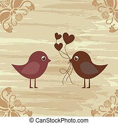 Birds couple - Birds in love on vintage background,...