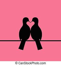 Birds couple forming heart