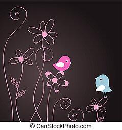 Birds couple in love. Vector illustration
