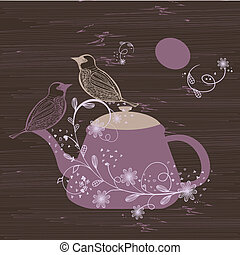 Birds couple on the teapot, hand drawn.