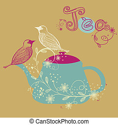 Birds couple on the teapot, hand drawn vector illustration