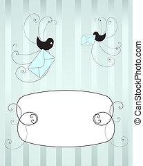 Birds delivering post blue swirls n