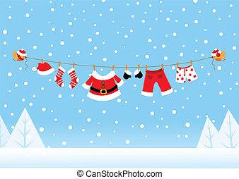 Birds Delivering Santa's Laundry
