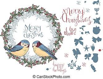 birds., diferente, inverno, cobrança