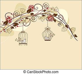 birds - floral decoration par with caged birds