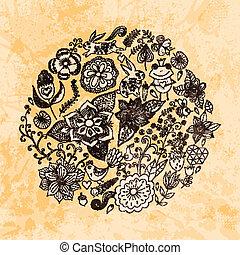 birds., estate, differente, fatto, grunge, vendemmia, paper., farfalle, flowers., illustrazione, rotondo, forma, fondo., luminoso, vettore, foglie, cerchio, fiori, profili