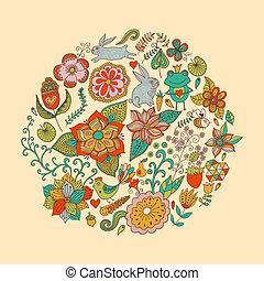 birds., estate, differente, fatto, vendemmia, foglie, farfalle, luminoso, illustrazione, rotondo, forma, fondo., flowers., vettore, cerchio, fiori, profili