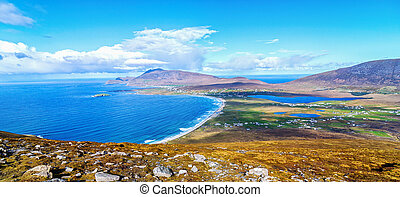 birds eye aerial view from top of a mountain in achill island. beautiful irish landscape and seascape of achill island rural countryside in county mayo