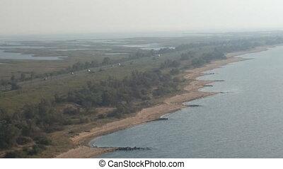 birds-eye panorama road to Crimea to Kerch Strait - Kerch...
