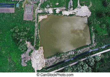 Aerial view of lake