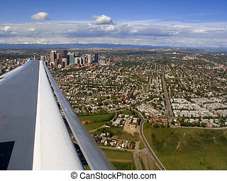 Birds Eye View - An aerial shot over Calgary, Alberta. Rocky...