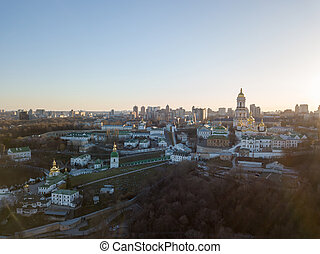 Bird's eye view from the drone to the Kiev Pechersk Lavra with historical cathedral of the monastery in Kiev, Ukraine.