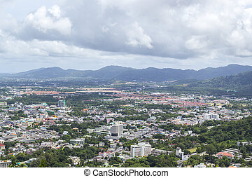 landscape of phuket town - Bird's eye view landscape of ...