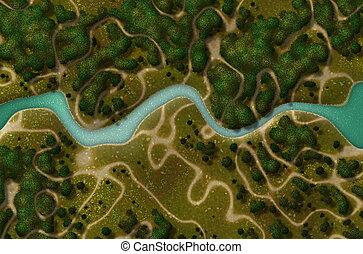Bird\\\'s Eye View of a Biking Hiking Trail Background