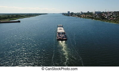 Bird`s eye view of a large barge floating in the Southern...