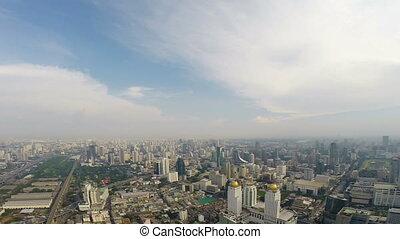 Birds eye view of Bangkok city video