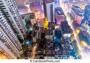 Birds eye view of buildings at night in Nanjing