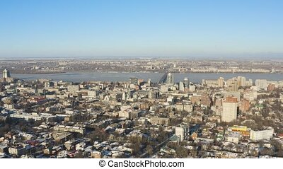 Bird's eye view of Dnipro city skyline. Winter cityscape...